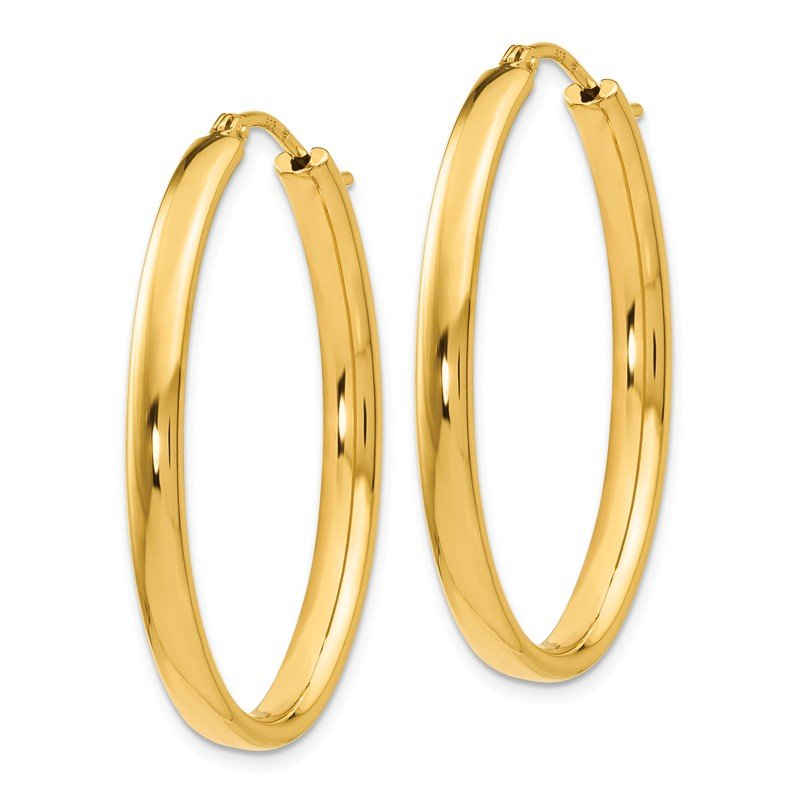 Leslie's Leslie's Sterling Silver Gold-plated Polished Oval Hoop Earrings