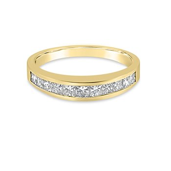14K Yellow Gold Diamond Vintage Channel Band