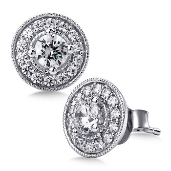 Pave set Diamond Round Halo Earrings, 14k White Gold  (1/2 ct. tw.) GH/SI1-SI2