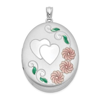 Sterling Silver Rhodium-plated Heart W/ Enamel Flowers 34mm Oval Locket