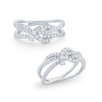 Diamond Love Knot Ring Set in 14 Kt. Gold