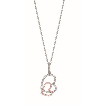 Silver Two-tone Interlocking CZ Heart Necklace