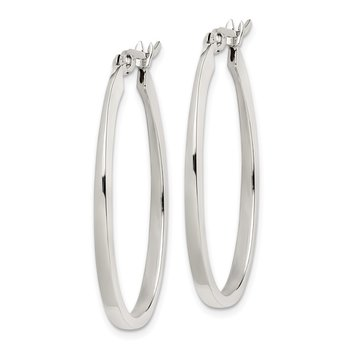 Sterling Silver Flat Square Tube 2mm Oval Hoop Earrings