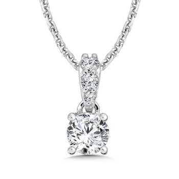 Diamond Solitaire Pendant with Diamond Bale in 14K White Gold (1/3ct. tw.)