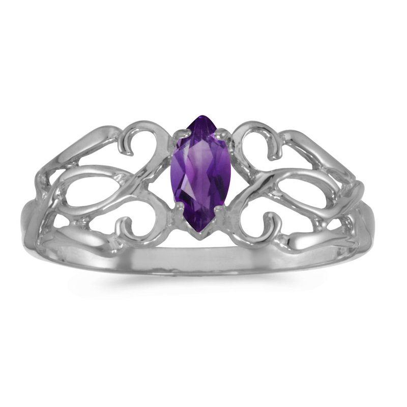 Color Merchants 14k White Gold Marquise Amethyst Filagree Ring