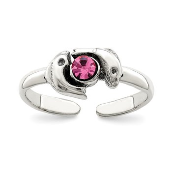 Sterling Silver Antiqued Pink CZ Dolphin Toe Ring