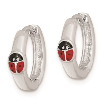 Sterling Silver RH-plated Enameled Ladybug Hinged Hoop Earrings