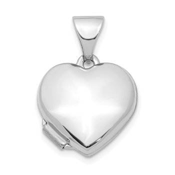 14K White Gold Heart 13mm Locket Pendant