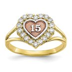 Quality Gold 10k Two-tone Sweet 15 CZ Heart Ring