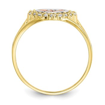 10k Two-tone Sweet 15 CZ Heart Ring