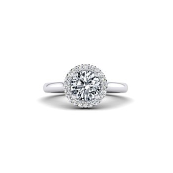 Round Diamond Halo Top Engagement Ring