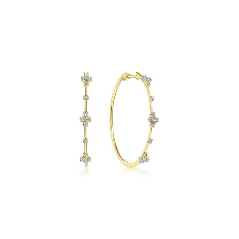 Amavida 14K Yellow Gold Prong Set  40mm Round Classic Diamond Hoop Earrings