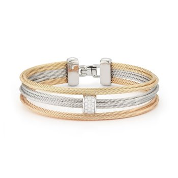 Rose, Yellow, & Grey Cable Small 3 Row Simple Stack Bracelet with 18kt White Gold &  Diamonds
