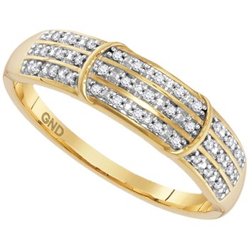 10kt Yellow Gold Womens Round Diamond Simple Striped Band Ring 1/10 Cttw