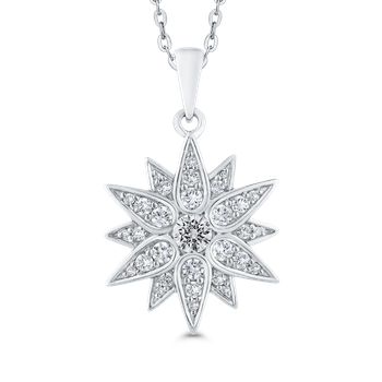 Round Cut Diamond Floral Pendant