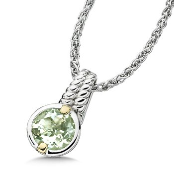 Sterling Silver, 18K Gold and Green Amethyst Pendant