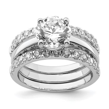 Sterling Silver Rhodium-plated 8mm CZ Solitaire & 2 CZ Bands Set