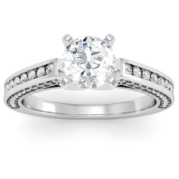 Pave & Channel Diamond Engagement Ring