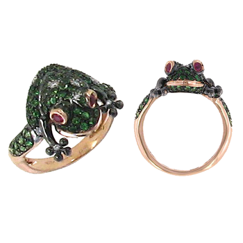 18KT GOLD DIAMOND, GREEN GARNET AND RUBY FROG RING