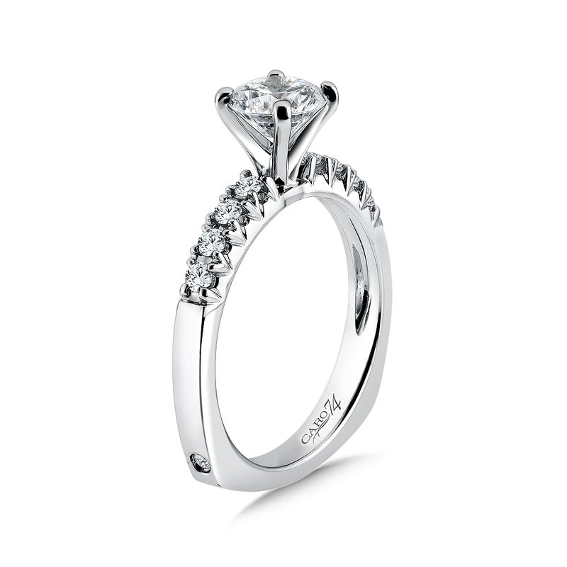 Caro74 Classic Elegance Collection Diamond Engagement Ring With Side Stones in 14K White Gold with Platinum Head (1ct. tw.)
