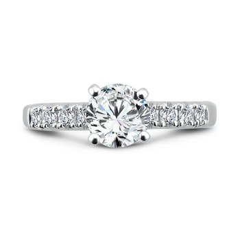 Classic Elegance Collection Diamond Engagement Ring With Side Stones in 14K White Gold with Platinum Head (1ct. tw.)
