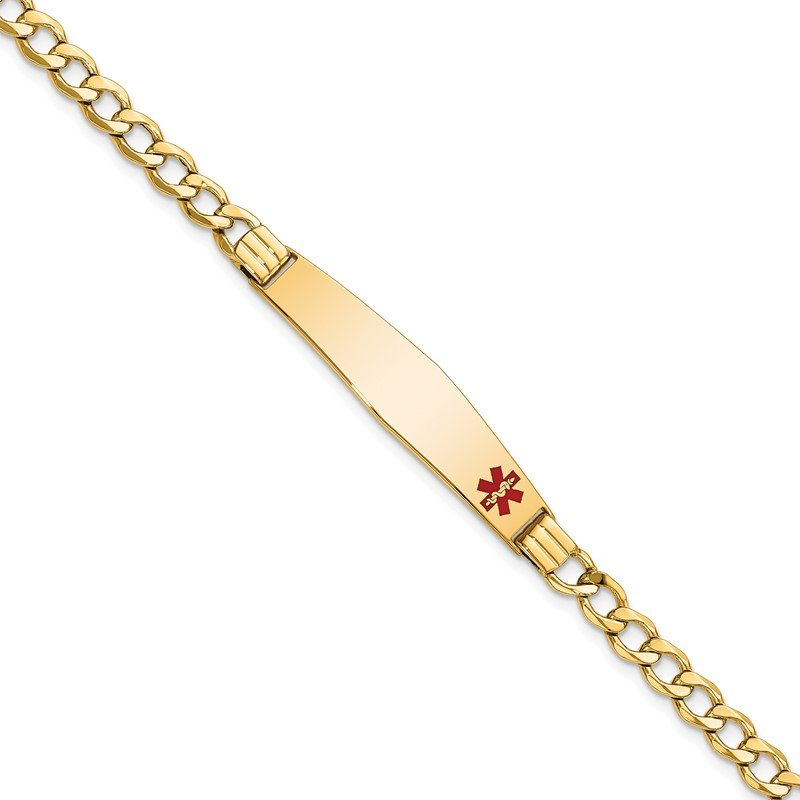 Quality Gold 14K Semi-Solid Medical Soft Diamond Shape Red Enamel Cuban ID Bracelet