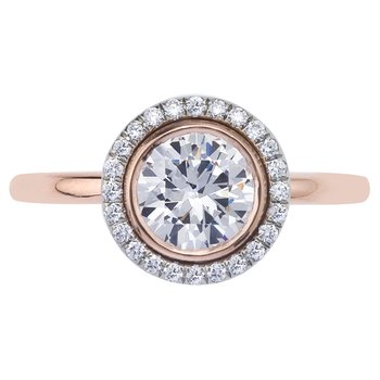 Rose Gold Bezel Set Diamond Engagement Ring