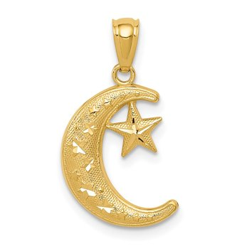 14k Gold Polished and Textured Moon and Stars Pendant