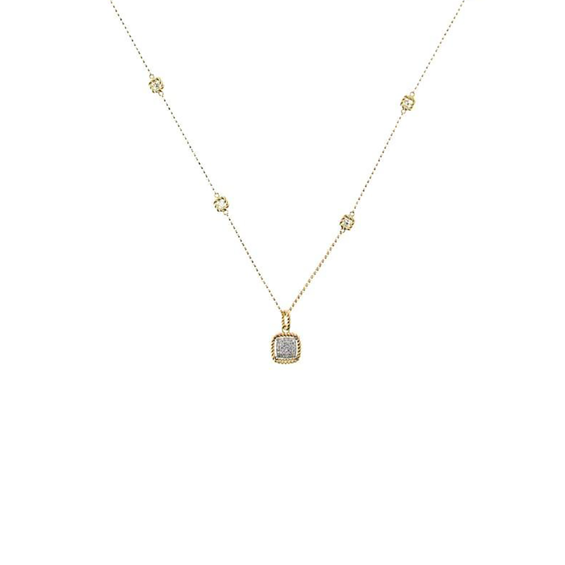 Roberto Coin 18KT NEW BAROCCO SQUARE SHAPE DIAMOND NECKLACE