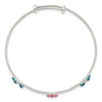 Sterling Silver Enamel Flower & Butterfly Childs Adjustable Bangle