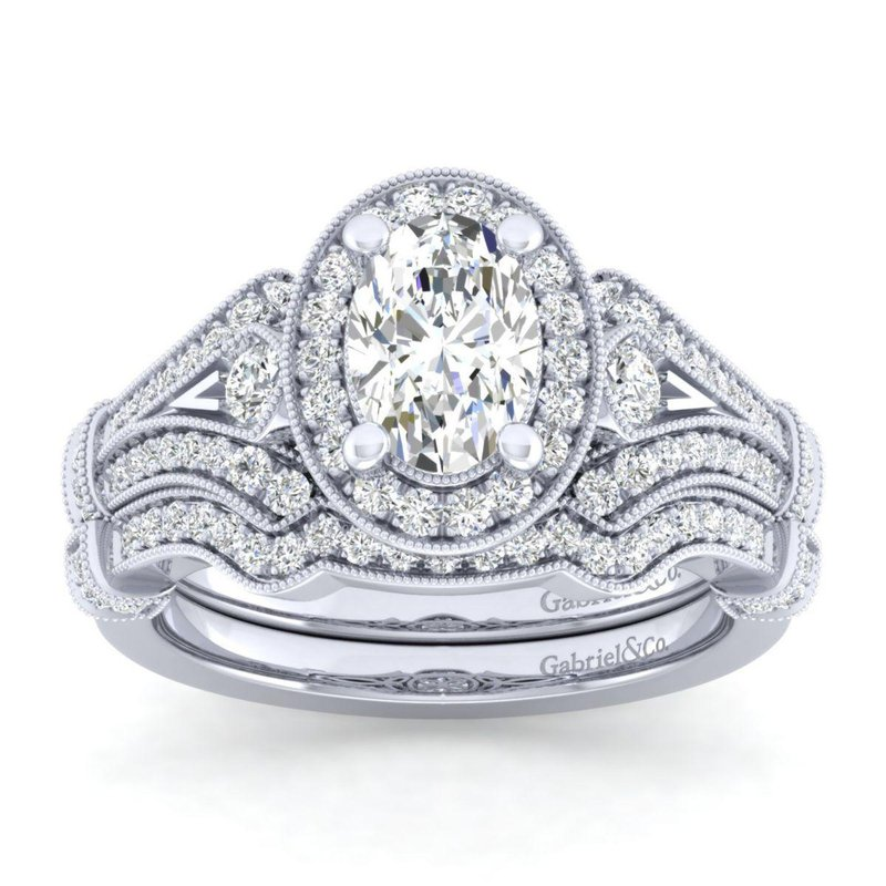 Gabriel Bridal Vintage 14K White Gold Oval Halo Diamond Engagement Ring
