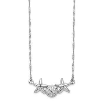14K White Brushed & Polished Sand Dollar Starfish Necklace
