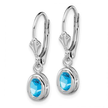 Sterling Silver Rhodium 6x4mm Oval Blue Topaz Leverback Earrings