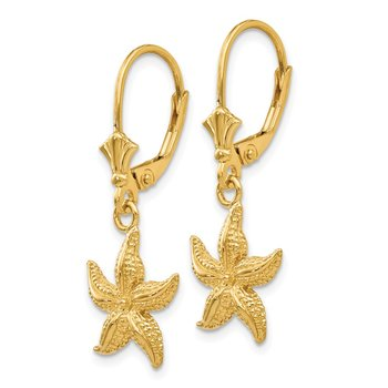14K Starfish Leverback Earrings