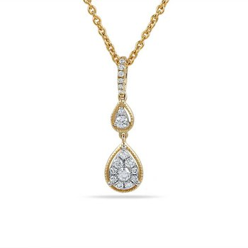 "14K pear shape necklace with 18 Diamonds 0.22C 18"" chain"