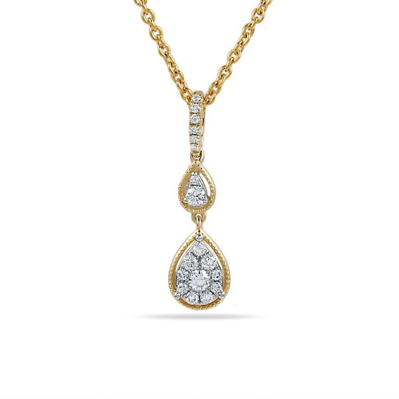 "Shula NY 14K pear shape necklace with 18 Diamonds 0.22C 18"" chain"