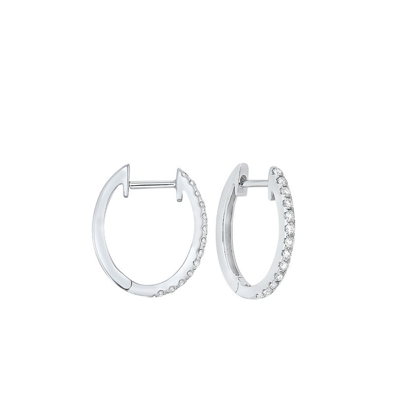 Gems One Prong Set Diamond Hoop Earrings in 14K White Gold (1/4 ct. tw.) SI2 - G/H