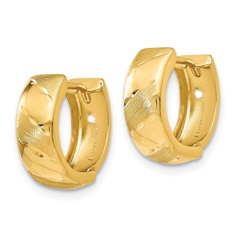 Leslie's Leslie's 14K Polished and Satin Hinged Hoop Earrings