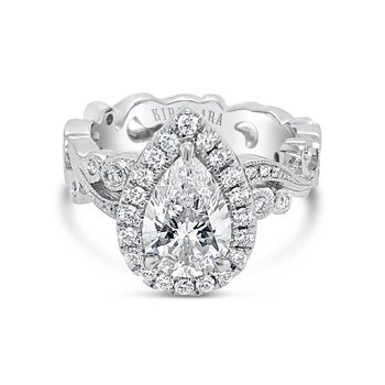 Pear Halo Vintage Swirl Diamond Engagement Ring