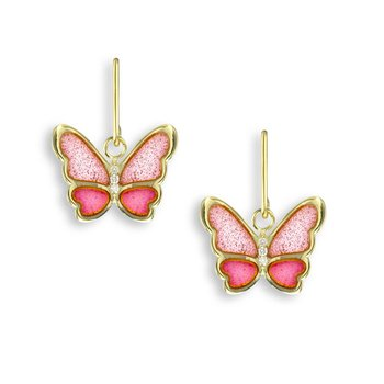 Pink Butterfly Wire Earrings.18K -Diamonds