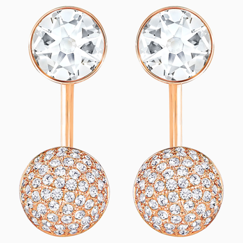 Forward Pierced Earring Jackets, White, Rose-gold tone plated