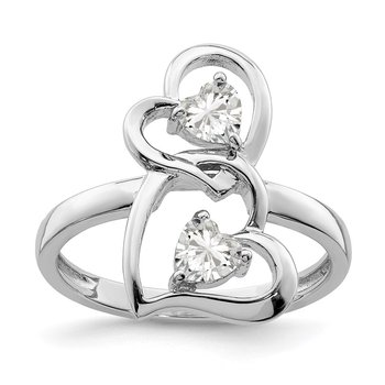 Sterling Silver Rhodium-plated CZ Double Heart Ring
