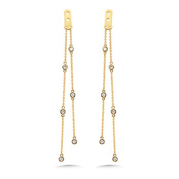 2-Strand Round Bezeled Diamond Enhancer Earrings