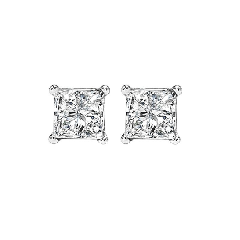 Gems One Princess Cut Diamond Studs in 14K White Gold (3/8 ct. tw.) I1/I2 - G/H