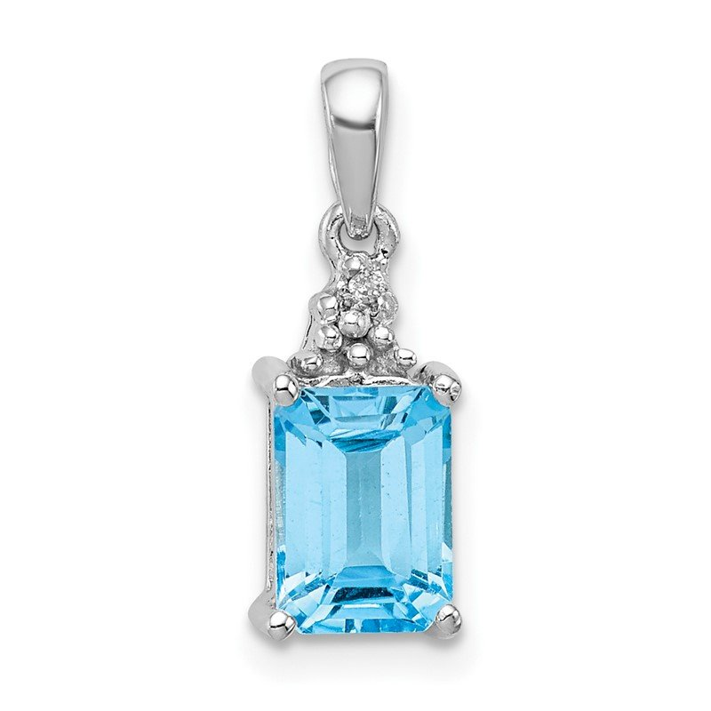Quality Gold Sterling Silver Rhodium-plated Light Swiss Blue Topaz & Diamond Pendant