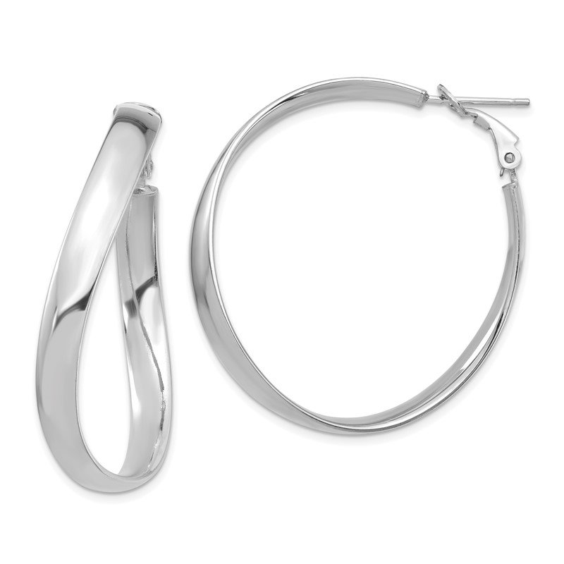 Quality Gold 14k White Gold High Polished 5mm Wavy Omega Back Hoop Earrings