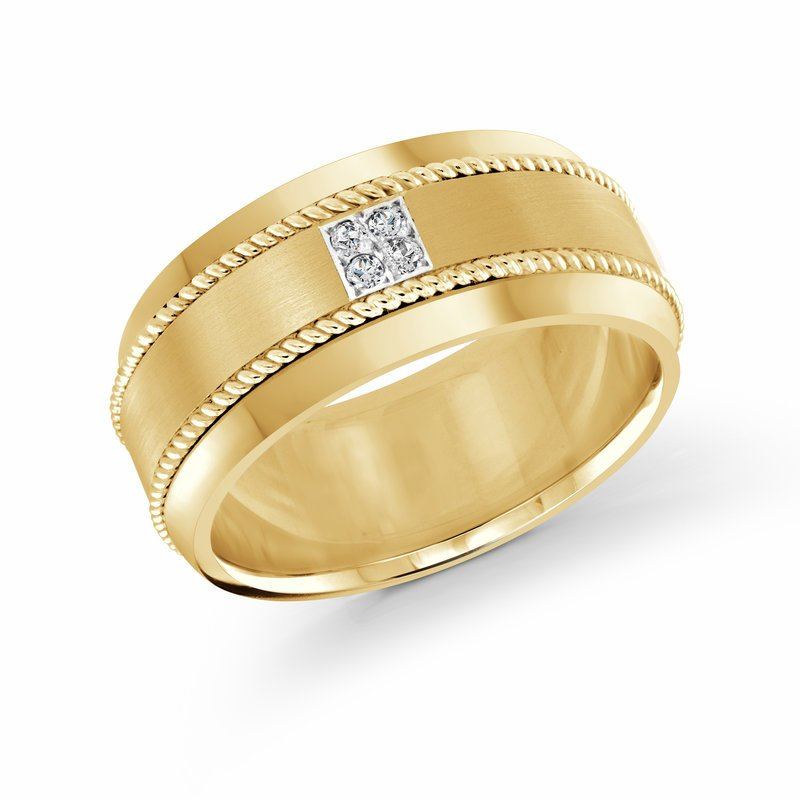 Mardini 10mm all yellow gold band, embelished with 4X0.015CT diamonds
