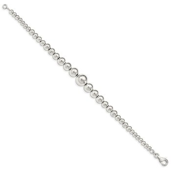 Sterling Silver Polished Graduated Beads Bracelet