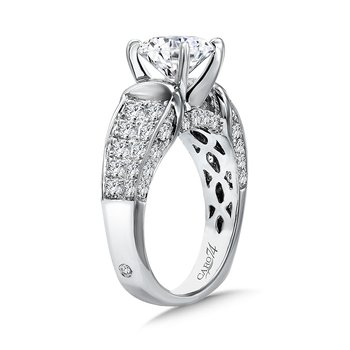 Grand Opulance Collection Engagement Ring With Diamond Side Stones in 14K White Gold with Platinum Head (2ct. tw.)