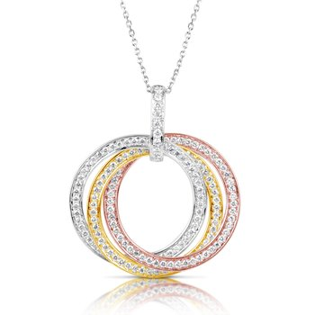 Tri Color Diamond Pendant